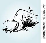 vector illustration of a swimmer | Shutterstock .eps vector #417509299