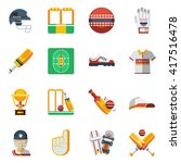 cricket flat decorative icons... | Shutterstock .eps vector #417516478