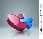 health logo. heart and plus... | Shutterstock .eps vector #417528178