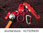 belay devices using in climbing ... | Shutterstock . vector #417529654