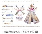 Handdrawn Watercolor Tribal...