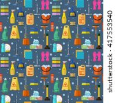 cleaning seamless pattern  | Shutterstock . vector #417553540