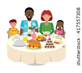 happy multicultural family... | Shutterstock .eps vector #417557308