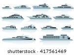luxury motor yachts in flat... | Shutterstock .eps vector #417561469