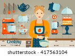 vector set of kitchen objects.... | Shutterstock .eps vector #417563104
