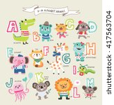 Stock vector cute cartoon animals alphabet from a to m 417563704