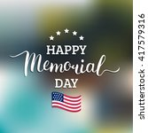 vector happy memorial day card. ... | Shutterstock .eps vector #417579316