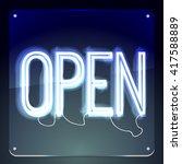 open. neon signboard. word on...   Shutterstock .eps vector #417588889