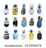 collection of cute pineapples... | Shutterstock .eps vector #417593473