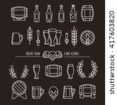Beer Thin Line Icons. Brewery...