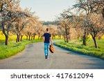 handsome young man is enjoying... | Shutterstock . vector #417612094