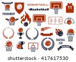 basketball balls  courts ... | Shutterstock .eps vector #417617530