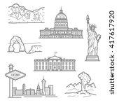landmarks of usa for travel ...   Shutterstock .eps vector #417617920