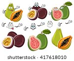 cute cartoon tropical guava ... | Shutterstock .eps vector #417618010