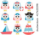 set of sailor owls and boats | Shutterstock .eps vector #417620398