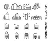 thin line building icon set 2 ... | Shutterstock .eps vector #417620734