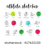hand drawn sport athlete... | Shutterstock . vector #417622120
