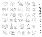 vector set of hand drawn fruit... | Shutterstock .eps vector #417626110
