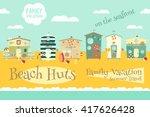 beach huts on seafront. summer... | Shutterstock .eps vector #417626428