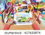 harvesting  truck with... | Shutterstock . vector #417633874