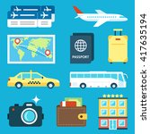 vector set of travel icons.... | Shutterstock .eps vector #417635194