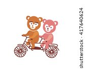 bears on bicicle | Shutterstock . vector #417640624