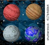 set of cosmic planets in outer... | Shutterstock .eps vector #417646864
