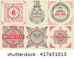 set of baroque cards logos with ... | Shutterstock .eps vector #417651013