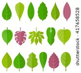 leaves icon set 1  flat design | Shutterstock .eps vector #417658528
