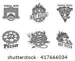 various black   white logos... | Shutterstock .eps vector #417666034