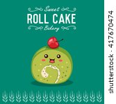 vector roll cake cartoon... | Shutterstock .eps vector #417670474
