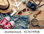 travel clothing accessories... | Shutterstock . vector #417674908