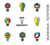 creative brain idea and light... | Shutterstock .eps vector #417675208