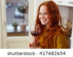 single happy red haired adult... | Shutterstock . vector #417682654