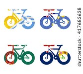 nation flag. bicycle recycled... | Shutterstock . vector #417683638