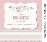 shabby chic baby girl shower... | Shutterstock .eps vector #417685030