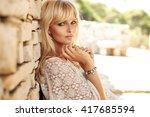 portrait of a stunning blonde...   Shutterstock . vector #417685594