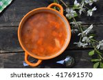 homemade soup of red fish with... | Shutterstock . vector #417691570