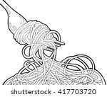 chinese noodles and fork  asian ... | Shutterstock .eps vector #417703720