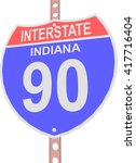 interstate highway 90 road sign ... | Shutterstock .eps vector #417716404
