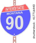 interstate highway 90 road sign ... | Shutterstock .eps vector #417716440