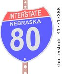 interstate highway 80 road sign ... | Shutterstock .eps vector #417717388