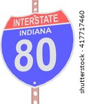 interstate highway 80 road sign ... | Shutterstock .eps vector #417717460