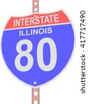 interstate highway 80 road sign ... | Shutterstock .eps vector #417717490