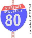 interstate highway 80 road sign ... | Shutterstock .eps vector #417717544