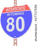 interstate highway 80 road sign ... | Shutterstock .eps vector #417717550