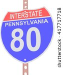 interstate highway 80 road sign ... | Shutterstock .eps vector #417717718