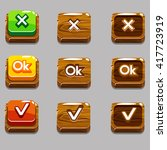cartoon wood square buttons for ...