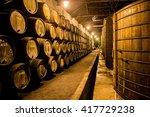 old barrels in the wine cellar  ...