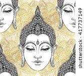ac1995b1b35b2 buddha head seamless pattern.... | Shutterstock .eps vector #417737149